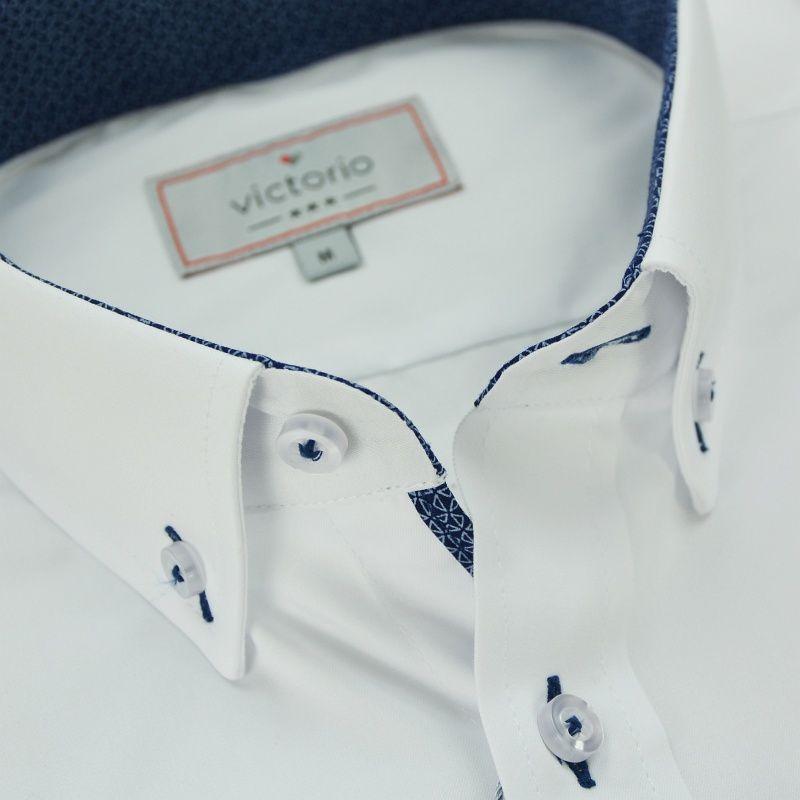 Biała Bawełniana Koszula z Długim Rękawem VICTORIO  18vfF