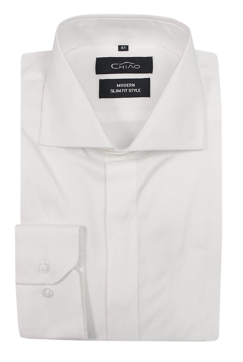 Biała Elegancka Koszula Męska z Długim Rękawem, 100% Bawełna