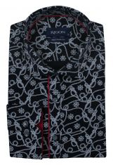 0d1ac800582d2 99.00 zł nowość; Czarna Koszula Męska, Wizytowa -RIGON- Krój Prosty, Długi  Rękaw, w Biały