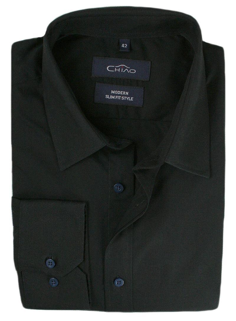 Czarna Koszula Męska z Długim Rękawem, 100% Bawełna CHIAO