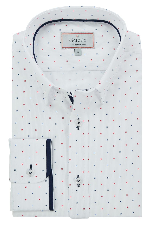 Biała Koszula Męska z Długim Rękawem, VICTORIO, Taliowana